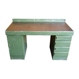 """Pre-owned Mid-Century Industrial Steel Desk - We love the durability and time worn charm of this Mid-Century industrial piece. The rugged steel construction of this """"Equipto"""" piece cannot be topped, and includes lockable drawers and a lockable cabinet. Great work surface space combined with secure storage and a sleek design - it's hard to think of a room this wouldn't work in, from the office to the kitchen."""