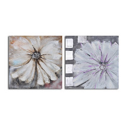 Day before fade florals Hand Painted 2 Piece Canvas Set - Who said florals have to be bright? These pale blossoms, hand painted acrylic on canvas, make a chic and subtle statement in your decor.