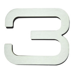 Atlas - Paragon House Number 3 - PGN3-SS - Manufacturer SKU: PGN3-SS. Stainless steel surface. Weather resistant. Peel-n-stick recycled backing. Lacquered for durability. Dense polyfiber backing. Projection: 0.75 in.. Made from metal. 4 in. L x 4.75 in. W