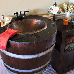 Oak Wine Barrel Sink by Wine Spirations - How fantastic is this oak wine barrel sink? If only wine would come out of the faucet.