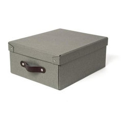 Bigso - Bigso Small Storage Box - Grey, Set of 3 - Outfit your closet, office or storage space with our small grey Closet Storage Boxes. Use them to store shirts and sweaters in the closet, files in the office or on rolling storage in the garage. Constructed of recycled fiberboard with leather pull handles, these multi-purpose covered boxes handsomely organize any space.