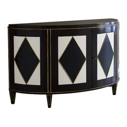 Global Views - Russian Cabinet - This striking cabinet was inspired by French cabinets made for the Russian aristocracy in the early 19th century.  The cabinet is updated with a diamond pattern in exotic maccaser veneer, black and ivory lacquer and gold leaf trim.