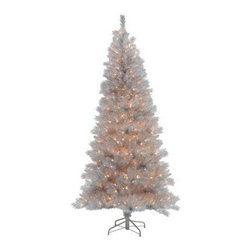 Silver White Pre-Lit Christmas Tree - The Silver White Pine Pre-Lit Christmas Tree brings the winter wonderland right into your home. This festive tree features a silver and white color tone with realistic branches and a durable PVC construction. Its white lights add a warm glow to your holiday decor. It comes with a sturdy wire base and is easy to set up and install in any space.6.5-ft.Tree Additional InformationShape: slim Base width: 41 in.Tip count: 790Bulb count: 4007.5-ft.Tree Additional InformationShape: slim Base width: 46 in.Tip count: 1056Bulb count: 5009-ft.Tree Additional InformationShape: slim Base width: 55 in.Tip count: 1714Bulb count: 700Don't Forget to Fluff!Simply start at the top and work in a spiral motion down the tree. For best results, you'll want to start from the inside and work out, making sure to touch every branch, positioning them up and down in a variety of ways, checking for any open spaces as you go.As you work your way down, the spiral motion will ensure that you won't have any gaps. And by touching every branch you'll create the desired full, natural look.About VickermanThis product is proudly made by Vickerman, a leader in high quality holiday decor. Founded in 1940, the Vickerman Company has established itself as an innovative company dedicated to exceeding the expectations of their customers. With a wide variety of remarkably realistic looking foliage, greenery and beautiful trees, Vickerman is a name you can trust for helping you create beloved holiday memories year after year.