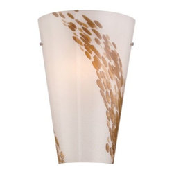 Philips Forecast Lighting - Piave LED Wall Sconce by Philips Forecast Lighting - Named after the river in northern Italy, the Philips Forecast Lighting Piave LED Wall Sconce is a subtly organic choice for transitional interiors. A flared White Art Glass shade is embellished with an Espresso Swirl, resembling dappled sun reflecting on water over river rocks. Held in place by nearly invisible hardware, the beauty of the glass is the center focus. For more than 40 years, Philips Forecast has offered their distinctive line of contemporary yet accessible lighting for the home. The Philips Forecast lighting collection runs the gamut of modern design, from simple and transitional to organic to modern industrial. Whatever the style of the fixture may be, attention to detail and quality ensures that it will illuminate and enhance spaces indoors or out for many years.