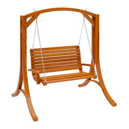 CorLiving - CorLiving Wood Canyon Cinnamon Brown Stained Patio Swing - Sharing special moments in your own backyard is easy with the PWC-331-S from CorLiving. This heavy duty rustic wood swing will create an outdoorsy look to any patio space.