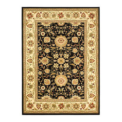 Safavieh - Lyndhurst Collection Majestic Black/ Ivory Rug (4' x 6') - This refined ivory rug from Lyndhurst coordinates your rooms d�cor with a deliciously satisfying floral print of rust,beige,red,and green. The lower,polypropylene pile doesnt collect dust and dirt easily,keeping the rug clean and vibrant.