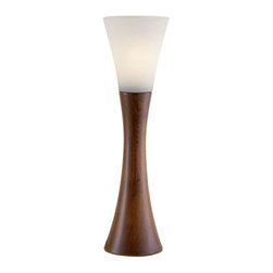 Adesso - Adesso Espresso Table Lantern - Each Espresso lamp has an hourglass shaped walnut finished wood base with a fluted frosted glass shade. Line switch. 60 Watt incandescent or 13 Watt CFL bulb. 22 in Height. Base: 15.25 in Height, 5.5 in Diameter. Shade: 6.75 in Height, 6 in Diameter.