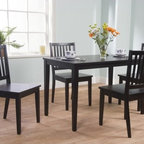 TMS - Shaker 5 Piece Dining Set - Designed with clean and simple lines, this five piece Shaker dining set is a great selection for your dining room or kitchen. Features: -Five piece dining set includes one dining table and four dining chairs.-Rubberwood and MDF construction.-Distressed: No.Dimensions: -Table dimensions: 29'' H x 25'' W x 45'' D.-Chair dimensions: 35.25'' H x 17.5'' W x 19.75'' D.