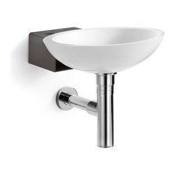 WS Bath Collections - Ciuci Dark Grey Wall Sink - Ciuci 6622.17 Wall-Mount bathrooom sink in White/Dark Grey, Wall-Mount Installation, Made in Italy