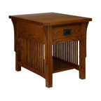 A.A. Laun Furniture - Arts and Crafts End Table w Drawer (Golden Oak) - Finish: Golden Oak. Pictured in Mission Stain color. Mission style. Solid oak top, front, legs and drawer. Carefully selected oak veneer sides and shelves. Traditional quality craftsmanship. Made in USA. Made from solid red oak. 27 in. W x 22 in. D x 23 in. HEach piece has an authentic quarter sawn appearance. Doors are assembled with dovetailed key joinery with reversible inserts in matching oak veneer or contrasting black panels. Drawers are solid wood English dovetailed drawer boxes with Mission style hardware. The Arts and Crafts collection emphasizes the beauty of the quarter sawn oak grain.