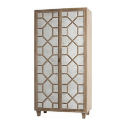 Arteriors - Remington Cabinet - Tall and stately, this wood cabinet makes a striking storage solution for your traditional home. It features a pair of antique mirrored glass doors and the appealing contrast of a distressed oak finish.