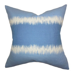 """The Pillow Collection - Juba Geometric Pillow Blue 18"""" x 18"""" - This throw pillow offers a fun and eclectic look to your home. Add a rejuvenating spirit to your living room, bedroom or guest room by spreading a few pieces of this indoor pillow. Mix in with solids and other bold patterns for a hip and cool decor style. Made of 100% high-quality linen fabric and proudly crafted in the US. Hidden zipper closure for easy cover removal.  Knife edge finish on all four sides.  Reversible pillow with the same fabric on the back side.  Spot cleaning suggested."""