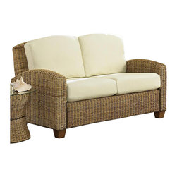 Home Styles - Home Styles Furniture Cabana Banana Loveseat in Honey Finish - Home Styles - Loveseats - 540160 - As the name suggests the Cabana Banana Loveseat has a stylish beachside retreat feel to it that brings a similarly coastal casual feel to any living area. Distinguished by it's banana-leaf rattan body and perfect beach cream seat the Cabana Banana is equally compatible with a living area or veranda. A honey washed finish and hardwood block feet completes the distinctive look and appeal of the Cabana Banana Loveseat.