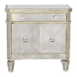 Z Gallerie - Borghese Mirrored Side Chest - The Borghese Collection of Regency styled mirrored furniture, casts a sophisticated nod to any room in your home.  Designed with modest glamour in mind, the antique beveled mirror surfaces are complemented by champagne gilt wood trim details. With either a single piece or a roomful, the Borghese Collection sets the tone with timeless style.