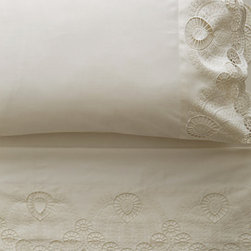 Anthropologie - Eyelet Embroidered Sheet Set, White - Lace has come back in fashion as well as in home decor. I like the simple and elegant details on this sheet set.