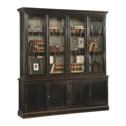 Sherrill Occasional - Sherrill Occasional Bibliotheque 960-203 - Whether in the dining room, living room, or library this well appointed antique reproduction French cabinet will add a touch of sophistication. Four wire mesh doors with medallioned pewter cross braces. Contrast cream interior Four locking lowers doors with adjustable shelves.