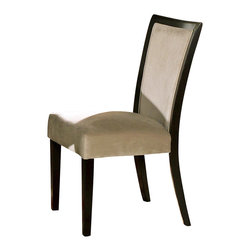 Steve Silver Furniture - Steve Silver Movado Velvet Parson Side Chair - Indulge that part of you that desires versatility and retro styling. The sleek style of the Movado dining collection features a deep merlot stained finish with luxurious velvet upholstered chairs.