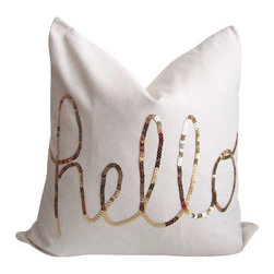 """Cushion Cut Decor - Hello Gold Sequin Pillow Cover with Zipper, 16 Inches - This pillow cover features """"hello"""" written in metallic gold sequins across the front.  Made from 100% cotton, this natural-white colored material is medium weight and suitable for indoor use."""