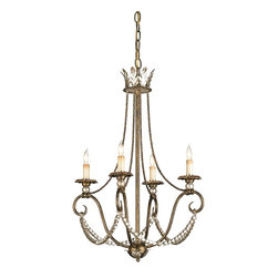 Currey & Company - Anise Chandelier - Graceful curves become even more striking with Barcelona Gold Leaf and Silver Leaf embellishment.