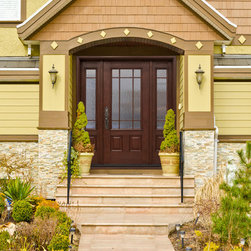 Cherry Entry Door System with SDL (simulated divided lites) - Mastergrain fiberglass entryways bring the rich wood grain from real wood door to a low maintenance fiberglass door facing.