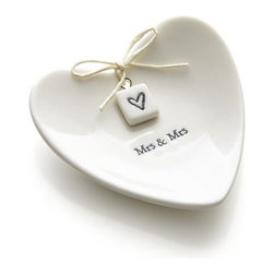 Mrs. and Mrs. Ring Dish - Heart-shaped tray provides wedding rings with a romantic setting when they're not on the happy couple's fingers. Packaged in its own gift box, this keepsake makes a fantastic gift for newlyweds or anniversary-celebrating spouses.