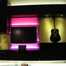 Modern Living Room Pink LED light in the Wall Unit