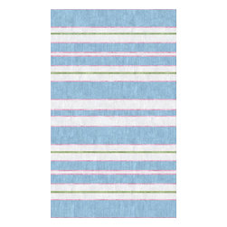 Custom Cool - Hamptons Stripe Rug 3x5 Wool Soumak Blue, Green, Pink & Cream - Our Hamptons Stripe design works as well within a beach house as it does in an apartment in the city.  This elegant and stylish design takes on a timeless, casual beauty through the organic and slightly irregular finish that is the trademark of our wool Soumak rugs.  Hand crafted by master weavers utilizing techniques passed on through the ages; this soumak-braided rug reflects a casual sophistication and informal glamour.