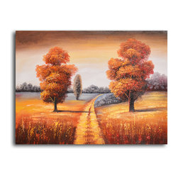 """My Art Outlet - Hand Painted """"Off-roading in fall"""" Oil Painting - Size: 24"""" x 32"""" (24"""" x 32""""). Enjoy a 100% Hand Painted Wall Art made with oil paints on canvas stretched over a 1"""" thick wooden frame. The painting is gallery wrapped and ready to hang out of the box. A very stylish addition to any room that is sure to get the attention of guests."""