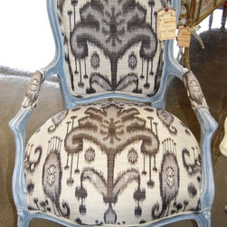 Refurbished Furniture - Refurbished hand painted French chair with Ikat fabric.