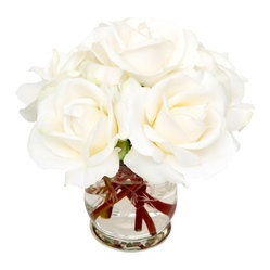 The French Bee - White Roses - These snow white silk roses are made all the more ethereal by the contrasting crimson stems. Prettily placed in an etched glass vase and you have artificial flower perfection. Keep them greenhouse-gorgeous by dusting gently with a soft cloth.