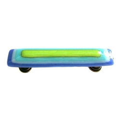 Uneek Glass Fusions - Blue, White, Turquoise, Lime Glass Pull - Collection: Strato