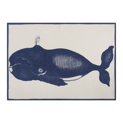 "Thomas Paul - Humphrey Whale Tea Towel - The handmade Thomas Paul Humphrey Whale Tea Towel features hand screened prints on 100% cotton. The towel features the nautical image of the majestic whale in blue. Tea towels are the utility item of your kitchen.  Use them to wipe down your clean dishes, wrap fresh muffins in a basket, or under bowls to keep them steady while you are mixing up your next delicious delight. We also love incorporating them into tablescapes or using them as colorful place mats.  The nautical print adds a pop of color to your kitchen or dining room.   About the Artist: After graduating from NYC's famed FIT, Thomas Paul started his career as a colorist and designer at a silk mill. Eventually, he leveraged his knowledge of silk materials & print to launch a neckwear line of his own. Over time, Paul loved the idea of applying menswear print and design into a collection of home decor, which is what we see in his goods today. His background has embedded in him a passion for quality production techniques. Even as his brand grows, he continues to ensure all of his prints are hand screened - a slow, detailed process that results in each piece being a unique piece of artwork. Paul also pushes the envelope in terms of bold prints and hand ground materials.       ""My vision for the thomaspaul brand has always been about combining classic design motifs from different periods in textile design. Incorporating anything from an 18th century Damask pattern to a camouflage print. The unifying thread between so many different styles is to change the designs so they are updated for today. For me this means changing the scale, so they are always bold, and reducing down the colors and details, so most designs are reduced to two or three colors and become very flat, bold prints. I am always looking to vintage fabrics and motifs for inspiration and new ideas, but always try to update these to look good for today."" - Thomas Paul   Product Details:"