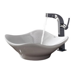 Kraus - Kraus White Tulip Ceramic Sink and Typhon Faucet Chrome - *Add a touch of elegance to your bathroom with a ceramic sink combo from Kraus