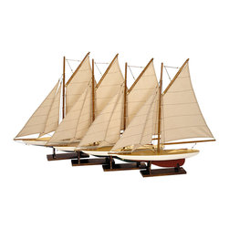 Authentic Models - Mini Pond Yachts, Set 4 - An AM classic, a must-have. Four colored mini pond yachts to sell as a set or individually. Yacht quality lacquer finish. Wood hull, cotton sails, wood stands.