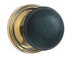 """Renovators Supply - Door Knobs Black Solid Brass/Black Door Knob Pair 