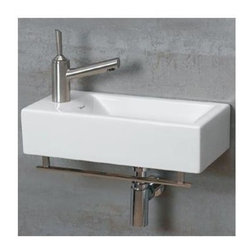 Whitehaus - Isabella Wall Mount Sink in White w Center Dr - Includes mounting hardware and towel bar. Faucet not included. Rectangular shaped. Single hole faucet drilling on left side. Made from porcelain. Polished chrome color. Center drain: 1.75 in.. Inside: 13.75 in. W x 7.5 in. D x 4.13 in. H. Overall: 19.75 in. W x 9.88 in. D x 5.25 in. H (24 lbs.). Warranty