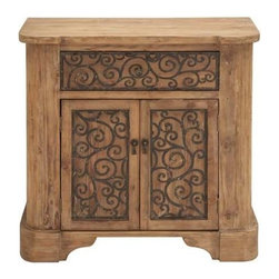 "Benzara - Wood Metal Cabinet with Graceful Curve Motifs - Wood Metal Cabinet with Graceful Curve Motifs. Designed using premium quality wood, this cabinet not only offers durability but also boasts of a sturdy construction. It comes with the following dimensions: 35""W x 16""D x 34""H."