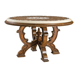 Ambella Home - Mosaic Table - Large - Gorgeous small center table featuring a mosaic stone top crafted from black granite, light emperador and dark emperador marble.  Imported.