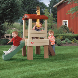 Step2 - Naturally Playful Lookout Treehouse - Climb, slide, and spy in this elevated Lookout Treehouse! With a 19'' high platform and a pivoting periscope that really works, this large playhouse is perfect for enhancing many of the skills children need while having fun. Features: -Large, easy-to-climb steps.-Durable slide for quick exits.-Shingle-styled roof for shade.-Recommended for children age 18 months and up.-Working periscope raises, lowers, and rotates.-Ladder and slide keep young children busy.-Care and Cleaning: Rinse with Hose.-Interior tall: 31'' (78.7 cm).-Weight capacity: 120 lbs.-Durable, maintenance-free construction.-Resin construction is splinter-free.-Naturally Playful collection.-For residential use only.-Collection: Naturally Playful.-Distressed: No.-Country of Manufacture: United States.Dimensions: -Slide length: 33'' (83.8 cm).-Overall Dimensions: 57.5'' H x 66.5'' W x 25'' D, 30 lbs.-Overall Height - Top to Bottom: 57.5.-Overall Width - Side to Side: 57.5.-Overall Depth - Front to Back: 25.-Overall Product Weight: 30 lbs.