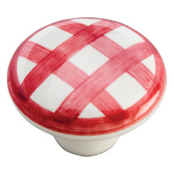 Hickory Hardware - English Cozy White with Red Checker Cabinet Knob - A rustic elegance is characteristic of this look. Elements have a handmade, forged metal quality. Some pieces look as if they were bought in antique shops.