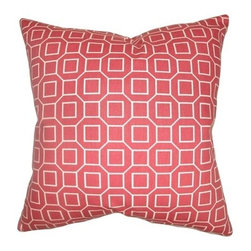 "The Pillow Collection - Zacheus Shapes Pillow Cranberry 20"" x 20"" - Add a contemporary style to your interior with this delectable cranberry throw pillow. The sumptuous color creates a beautiful contrast with the geometric print pattern. This accent pillow is a stylish way to bring life to your space. The square pillow is made from 100% soft cotton fabric. Hidden zipper closure for easy cover removal.  Knife edge finish on all four sides.  Reversible pillow with the same fabric on the back side.  Spot cleaning suggested."