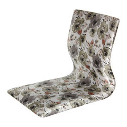 Oriental Furniture - Tatami Meditation Backrest Chair - White Floral - Hand crafted Japanese style tatami chair, traditionally used on tatami mat floors for meditation or study. Portable and comfortable, tatami chairs have become popular in the U.S. for their simple, sturdy Asian design as well as convenience for playing video games or television. Fine Japanese style printed fabric.