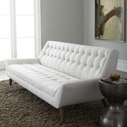 """Malibu"" Sofa by Jonathan Adler - Mid-century-modern white tufted sofa by Jonathan Adler"