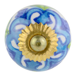 Knob Lovers - Bridget Knob - Step into a garden of detail with this knob. Meet Bridget, a white ceramic knob with exquisite hand painted detail in blue and green. She is set upon a gold mount and is topped with a gold cap.
