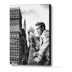 Marilyn Monroe & James Dean 'New York' 2014 Canvas Art - Much like our silver-screen icons, New York City skyline never quite loses its luster. An iconic rendition inspired by the past and present, featuring Marilyn Monroe and James Dean smoking on a rooftop. Showcasing a contemporary juxtaposition with 188 digitally rendered image layers. Initial development of the piece was originally presented and promoted as a peer-evaluated concept titled Anything Goes appearing for the first time on DeviantART in June of 2011. Contemporary artworks published by Brailliant are designed for today, and reflect the great attention to style and old Hollywood glamour.