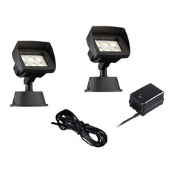 """Super Duty - Transitional Super Duty Eastham Black 4-Piece LED Landscape Lighting Set - Keep your home well lit at night with this complete landscape lighting set from the Eastham Super Duty™ line by John Timberland®. Includes two low voltage energy efficient LED black floodlights made of aluminum with tempered glass lenses to withstand the weather and protect the LED modules. A 45-watt low voltage transformer is included which features a built-in photocell for dusk to dawn operation. A black landscape wire completes the kit so you can connect your lights bringing this set together for a spectacular look. For low voltage landscape lighting systems.  From the Super Duty™ line of LED landscape lighting.  4-piece floodlight landscape kit.  Black finish.  Cast aluminum construction.  Includes 2 floodlights one 45-watt low voltage transformer cable.  Floodlights include six 1 watt LEDs.  Comparable to a 25 watt incandescent bulb.  Free 45 watt transformer.  Full ON mode or 3 AUTO settings (4 6 and 8 hours).  Built in photo-cell for dusk to dawn operation.  Free 50 feet of cable.  Includes ground stake.  Lights are 8"""" high 5 1/2"""" wide."""
