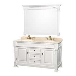 Wyndham Collection - Bathroom Storage Vanity with Undermount Sink - Includes matching mirror, natural stone counter and backsplash with porcelain sinks. Faucet not included. Beautiful transitional styling. White sink. Ivory marble top. Floor-standing linen tower. Hand carved and stained cabinet. Mirror glass thickness: 1 in.. 8 in. widespread three hole faucet mount. Plenty of storage space. Engineered to prevent warping and last a lifetime. Highly water-resistant low V.O.C. finish. Twelve stage wood preparation, sanding, painting and hand-finishing process. Fully extending side-mount drawer slides. Concealed door hinges. Two doors and three deep doweled drawers. Metal hardware with antique bronze finish. Warranty: Two years. Made from environmentally friendly, zero emissions solid oak hardwood. White finish. Vanity: 60 in. W x 23 in. D x 35 in. H. Mirror: 55 in. L x 41 in. H (65 lbs.). Cabinet weight: 192 lbs.. Counter weight: 97 lbs.. Sink weight: 13 lbs.. Care InstructionsA new edition to the Wyndham Collection, the beautiful Andover bathroom series represents an updated take on traditional styling. The Andover is a keystone piece, with strong, classic lines and an attention to detail.