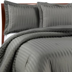 Wamsutta - Wamsutta Damask Stripe Comforter Set in Grey - Refined detailing including a classic damask stripe reversing to a pinstripe back and a lustrous silk-like feel combine to create elegant bedding with an inviting look and appealing texture. It will transform the look of your bedroom decor.