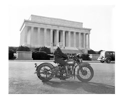 First of Fair Sex to Obtain Motorcycle License in Capital Print - Washington, D.C., Sept. 15. Although she weights only 88 pounds--one-third of the machine she rides, Mrs. Sally Halterman is the first woman to be granted a license to operate a motorcycle in the District of Columbia. She is 27 years old and 4 feet, 11 inches tall. Immediately after receiving her permit, Mrs. Halterman was initiated into the D.C. Motorcycle Club - the only girl ever to be accorded this honor. Photographed by Harris & Ewing on 4x5 glass plate negative.