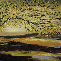 """""""Greeny Day"""" by Preethi: Original Large Modern Painting - Title: Greeny Day"""